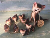 Vintage Ceramic Cat with 9 Lives Mother Cat and Kittens Made in Japan