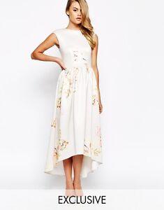BIG SALE True Violet Structured Painted Floral Print Maxi Dress UK10 RRP£85