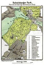 MAP 1898 KIESSLING BABELSBERGER PARK POTSDAM LARGE REPLICA POSTER PRINT PAM0380