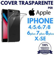 COVER TRASPARENTE PER APPLE IPHONE 4/5/6/7/8/X/SE/PLUS CUSTODIA TPU CRYSTAL CASE