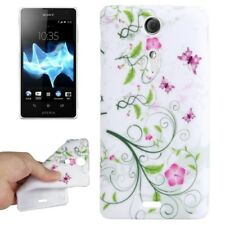 TPU Case für Sony xperia TX Blumenranke pink weiß grün Schutzhülle Schutzcase