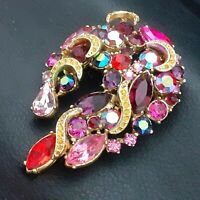 Stunning Large SPHINX Goldtone Brooch Pin - Feast of Pink Purple & Red Shades