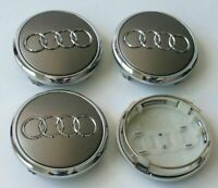 4 Pcs 77mm AUDI Gray 4L0601170 Wheel Center Caps Logo Badge Hub Caps Rim Caps