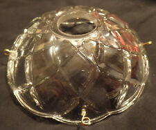 "NEW 4"" Pressed Glass Round Lamp Prism Chandelier Bobeche w/ 4 Brass Pins #BB900"
