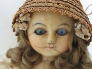"""Antique 1850s Wax Over Comp Doll 18 3/4""""  Wire Pull Eyes Original Dress"""