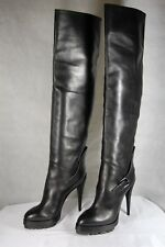SUPER SEXY!!! CASADEI HI HEEL  PLATFORM BLACK LEATHER OVER THE KNEE BOOTS US 10