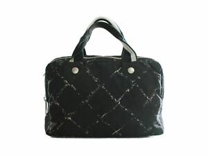 Authentic Chanel Travel Line Black White Nylon Waterproof handbag