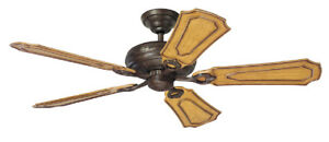 """Hunter Prestige 54"""" Ceiling Fan Cote d'Azur Burled Brown w/ Carved Blades 28155"""