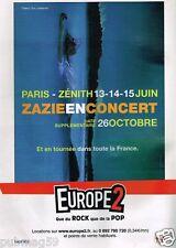 Publicité advertising 2007 Concert Zazie Paris Zenith
