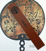 PERSONALISED Leather Bookmark Tan & Black TREE OF LIFE + name/initials CELTIC