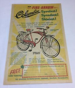 1960 Columbia FIRE ARROW bicycle cartoon ad page ~ 6x9 inches