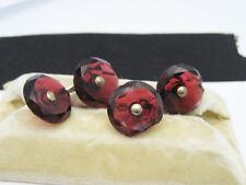 Antique Art Deco era Facet Cut Red Glass Facet Cut Crystal Cufflinks Buttons
