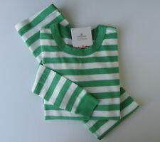 HANNA ANDERSSON Organic Long Johns Pajamas Happy Green White 160 14 NWT