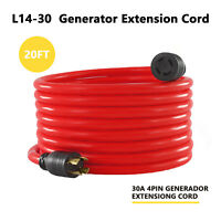20 FT, 30 Amp Nema L14-30 4 Prong Wire Generator Extension Power Cord 125/250V