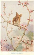 Medici Postcard Pk 267 A/S Noel Hopking, Forget-Me-Knot? Mouse in Blooming Tree