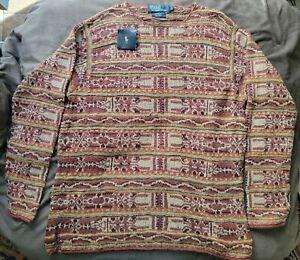 Vintage Ralph Lauren Fairisle Hand Knit Sweater LG NWT