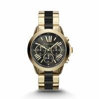 New Michael Kors Bradshaw Ladies Chronograph Black Gold MK6501 Womens Watch