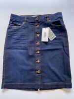 Mango Denim Button Down Front Skirt Size UK 6 And 8 Summer Holiday Vintage BNWT