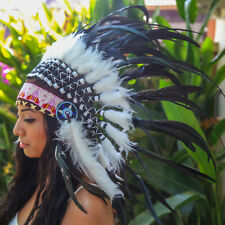 Black INDIAN HEADDRESS Chief War bonnet Costume Native American Halloween