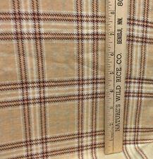"Fabric Flannel Plaid Tartan Check Brown Tan Red Cotton Blend 76"" Soft"