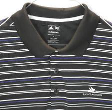 Adidas Golf Shirt Kauai Lagoons Climacool Polo Black White Blue Stripes XL