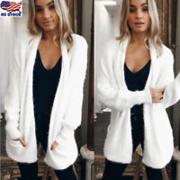Plus Size Womens Long Sleeve Knitted Fluffy Cardigan Sweater Pocket Coat Jacket