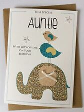 Handmade Personalised Birthday Card (Auntie/Niece/Nanny) Ditsy Elephant Friends