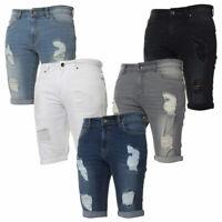 Enzo Mens Denim Skinny Fit Shorts Smart Casual Distressed Ripped Half Pants
