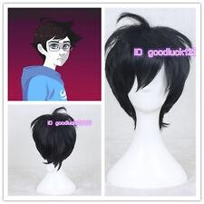 Homestuck John Egbert Cosplay Short Black Hair Wig +free wig cap