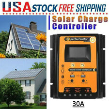 30A MPPT Solar Charge Controller Panel Battery Regulator 12/24V Dual USB