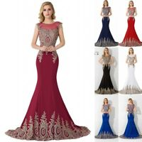 Long Evening Formal Party Dress Prom Ball Gown Bridesmaid Mermaid Applique