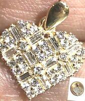 GOLD Heart Love Charm Pendant 14k Yellow Simulated diamond SMALL