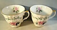 Crown Victorian Bone China Tea Cup Roses Teacups Set of 2 Staffordshire England