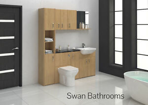 OAK BATHROOM FITTED FURNITURE 1700MM WITH WALL UNITS
