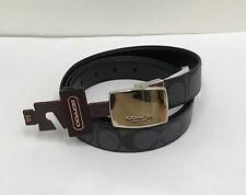NWT Coach Men's Signature Reversible CUT TO SIZE Belt  F64828 - Charcoal/ Black