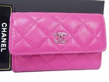 Auth Chanel Caviar Leather Quilted Card Case ID Holder Pink Coco Unused T867