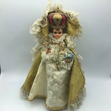 "1963 Vtg 12"" Infant Of Prague Statue Columbia Statuary Italy Crown Dressed B5"