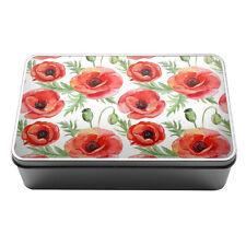 Red poppies watercolour style flowers Metal Storage Tin Box 163