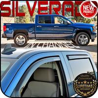 2014-2019 Silverado Crew Cab In Channel Window Deflector Vent Visor Sun Shade