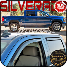 2014-2019 Silverado Crew Cab In Channel Window Deflector Vent Visor Sun Shade