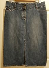 Ladies size 12 Blue Denim Skirt with front slit - Jacqui E