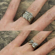 1XAntique Womens Men Boho Style Feather Ring Finger Ring Band Fashion Jewelry ZC