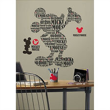 "Disney MICKEY MOUSE wall stickers MURAL 17 decals TYPOGRAPHIC 29"" tall decor"