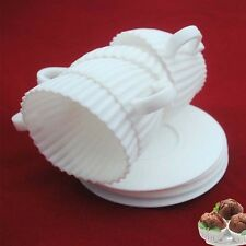 4pcs White Silicone Cupcake Cups Muffin Baking Cake Tea Saucers Teacup Mold Set
