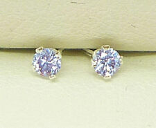 Solid Sterling Silver Stud Earrings Round 3mm Lab-created Stone Amethyst S1026