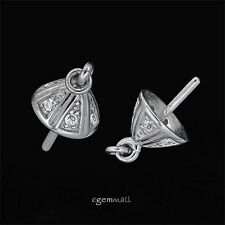 Fine Sterling Silver CZ Pearl Cup Pin Bead Cap Charm Connector 1pc #97843