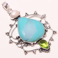 "Ethnic Jewelry Pendant 3.75"" A-261 Exceptional Aqua Druzy, Pearl & Peridot"