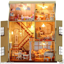 DIY Handcraft Miniature Project Kit LED Lights Music Wooden Villa Dolls House