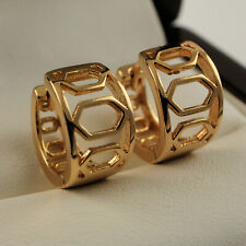 Small 18ct Yellow Gold Filled 13mm Filigree Hollow Huggie Hoop Earrings UK 406