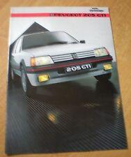 catalogue brochure PEUGEOT 205 GTI